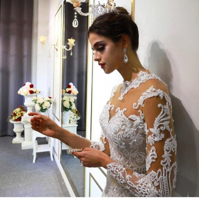 Jewel Lace Long Sleeves Mermaid Wedding Gowns 2021 with Train_5