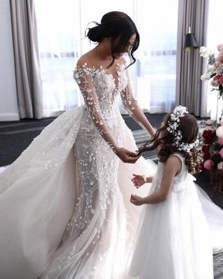 Luxury Long Sleeves Flower Lace Mermaid Wedding Gowns with train_2