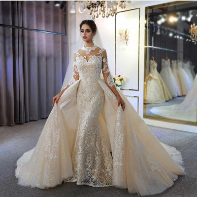 Jewel Lace Long Sleeves Mermaid Wedding Gowns 2021 with Train_2