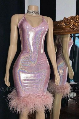 Sexy Spaghetti Straps Cocktail Dress Short Mini Sequins Party Dress