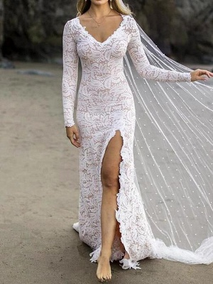 Chic Sheath V-Neck Long Sleeves Lace Beadings Wedding Dress with Slit