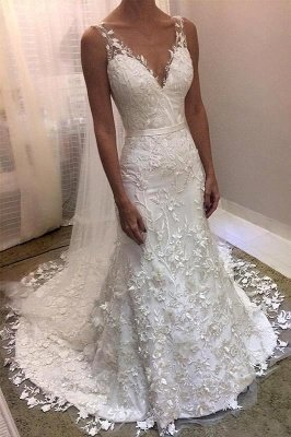 Modern Straps V-Neck Sleeveless Lace Wedding Dress with Beadings_1