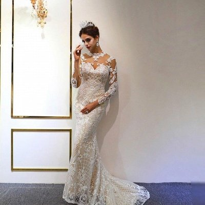 Jewel Lace Long Sleeves Mermaid Wedding Gowns 2021 with Train_4