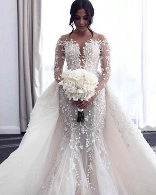 Luxury Long Sleeves Flower Lace Mermaid Wedding Gowns with train