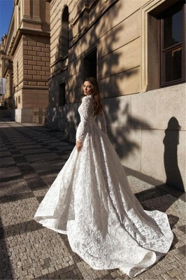 Sexy A-Line High-Neck Lace Long Sleeves Wedding Dress with Slit_2