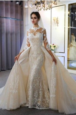 Jewel Lace Long Sleeves Mermaid Wedding Gowns 2021 with Train