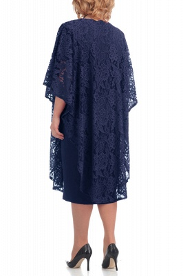 Half Sleeves Jewel Lace Knee Length Mother of Bride Dress On Sale_8