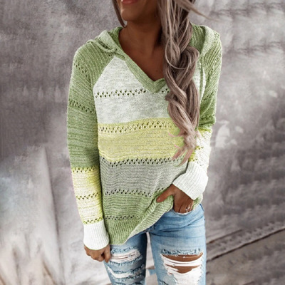 Multicolor Stitching Hooded V-neck Sweater_2
