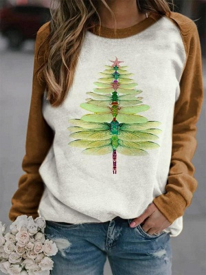 Dragonfly Christmas Tree Print Sweatshirt_2