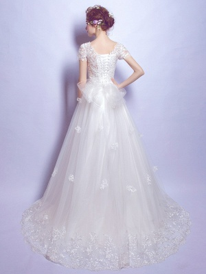 A-Line Tulle Lace Scoop Cap Sleeves Wedding Dress with Bowknot_2