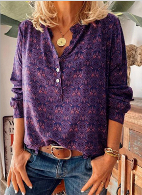 Ladies Vintage Printed Stand Collar Casual T-shirt_4