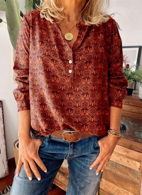 Ladies Vintage Printed Stand Collar Casual T-shirt_2