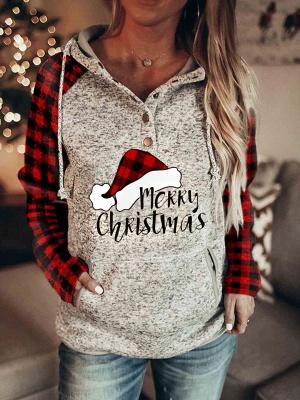 Women's Christmas Long Sleeves Print Hooded Sweatshirt_5