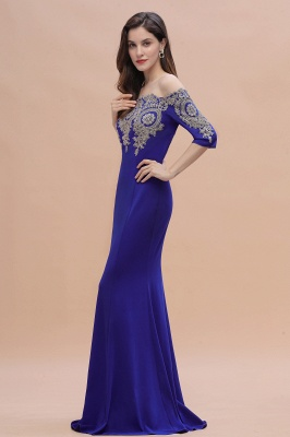 Mermaid Off-Shoulder Chiffon Lace Half Sleeve Evening Dress On Sale_9