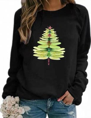 Women's Dragonfly Christmas Tree Print Sweatshirt_5
