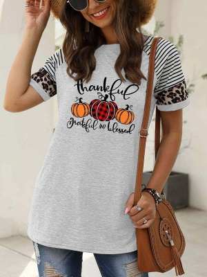 Women's Thankful Grateful And Blessed Printed Leopard Print Casual T-shirt_5