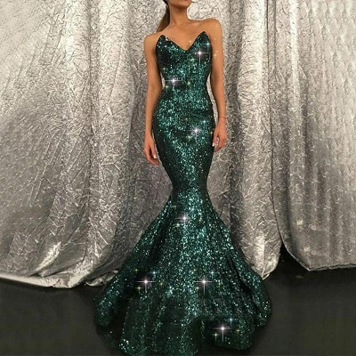 Sparkly Mermaid Black Sequined V-neck Prom Dress without Sleeves On Sale_2