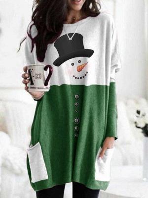 Women's Snowman Print Long Sleeve Top_2