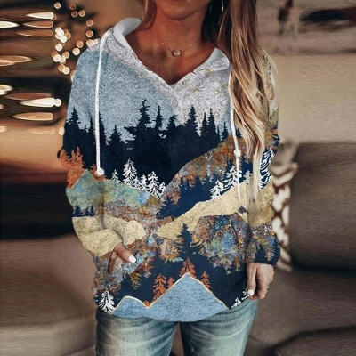 Women's Autumn And Winter Mountain Print Casual Pocket Hoodie & Sweatshirt_2