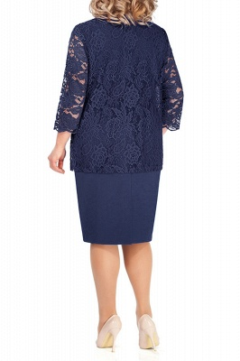 Sheath Jewel Knee Length Mother of Bride Dress with 3/4 Sleeves Lace Wrap_9