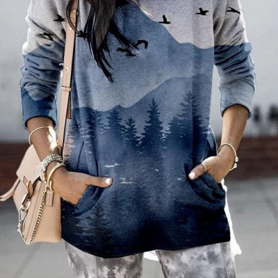 Women's Mountain Printed Hooded Casual Sweatshirt_4