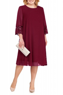 3/4 Sleeves Jewel Lace Knee Length Mother of Bride Dress_1