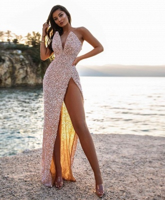 Sexy V-Neck Beadings Sequins Sleeveless Prom Dress with High-Split_2
