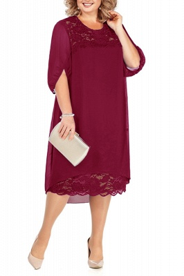 Lovely Half Bubble Sleeves Lace Tea Length Mother of Bride Dress_1