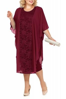 Lace Jewel Half Sleeves Mother of Bride Dress In Burgundy Royal Blue Dark Navy_1