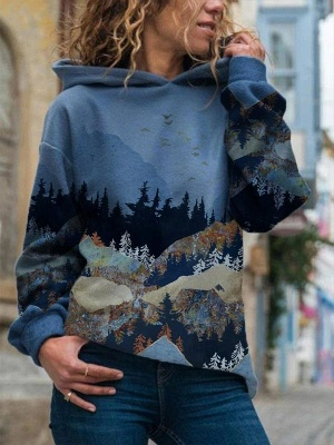 Women's Art Mountain Print Casual Hoodie & Sweatshirt_2