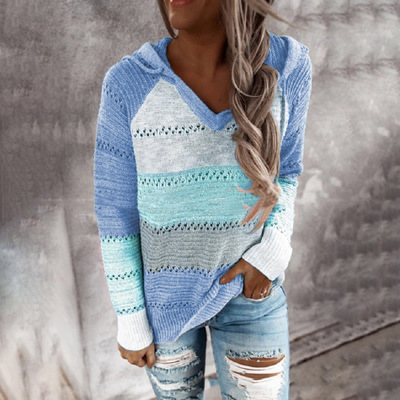 Multicolor Stitching Hooded V-neck Sweater_6