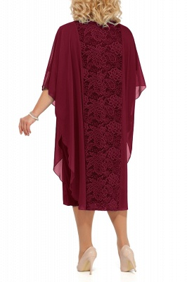 Lace Jewel Half Sleeves Mother of Bride Dress In Burgundy Royal Blue Dark Navy_7