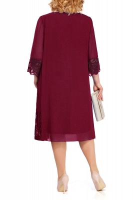 3/4 Sleeves Jewel Lace Knee Length Mother of Bride Dress_11