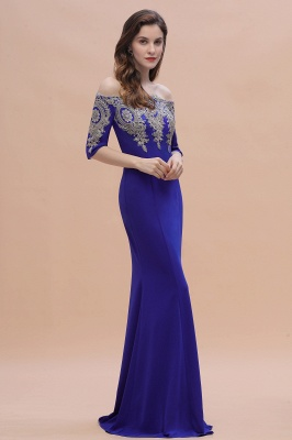 Mermaid Off-Shoulder Chiffon Lace Half Sleeve Evening Dress On Sale_8