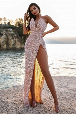 Sexy V-Neck Beadings Sequins Sleeveless Prom Dress with High-Split_1