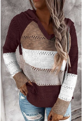 Multicolor Stitching Hooded V-neck Sweater_3
