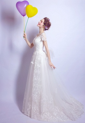 A-Line Tulle Lace Scoop Cap Sleeves Wedding Dress with Bowknot_3