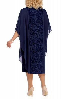 Lace Jewel Half Sleeves Mother of Bride Dress In Burgundy Royal Blue Dark Navy_5