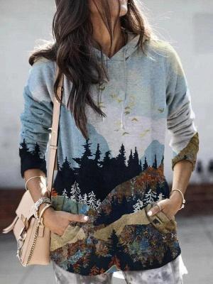 Women's Mountain Printed Hooded Casual Sweatshirt_2
