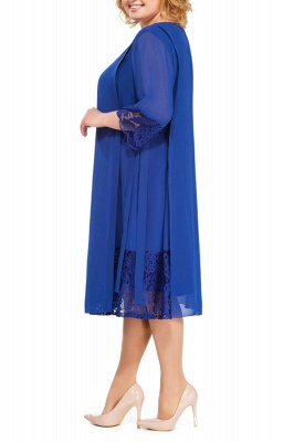 3/4 Sleeves Jewel Lace Knee Length Mother of Bride Dress_7