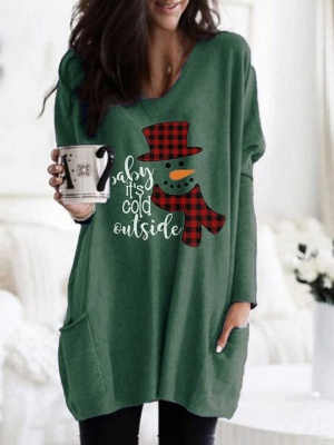 Women's Baby It's Cold Outside Print Long Top_2