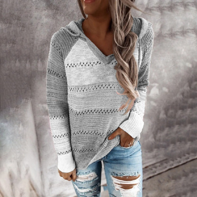 Multicolor Stitching Hooded V-neck Sweater_5