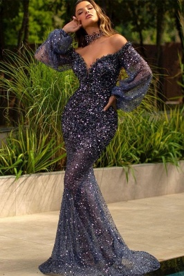 Luxury Mermaid Off Shoulder Tulle Lace Sequined Prom Dress with Bubble Sleeves_1