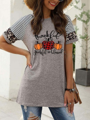 Women's Thankful Grateful And Blessed Printed Leopard Print Casual T-shirt_2