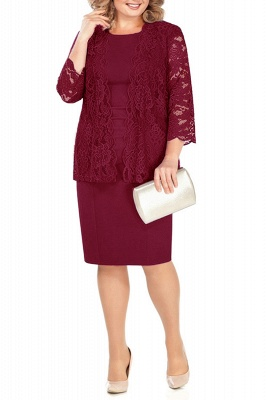 Sheath Jewel Knee Length Mother of Bride Dress with 3/4 Sleeves Lace Wrap_1