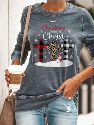 Women's Christmas Begins With Christ Print Sweatshirt_3