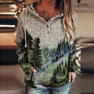 Women's Winter Mountain Print Casual Sweatshirt_2