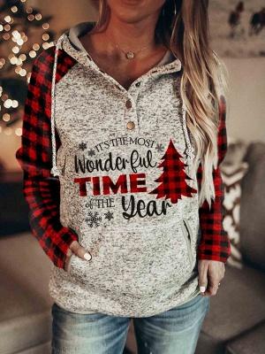 Women's Christmas Long Sleeves Print Hooded Sweatshirt_4
