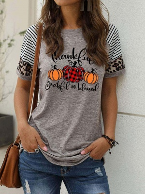 Women's Thankful Grateful And Blessed Printed Leopard Print Casual T-shirt_6