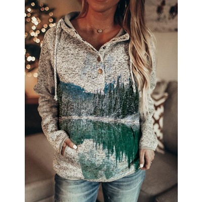 Women's Art Mountain Print Casual Pocket Hoodie & Sweatshirt_5
